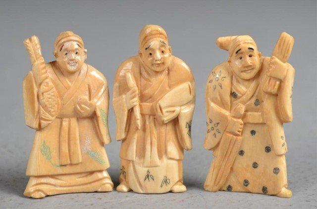 548: (3)Japanese Carved Ivory Netsuke