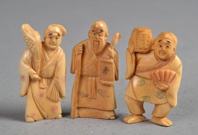 549: (3)Japanese Carved Ivory Netsuke