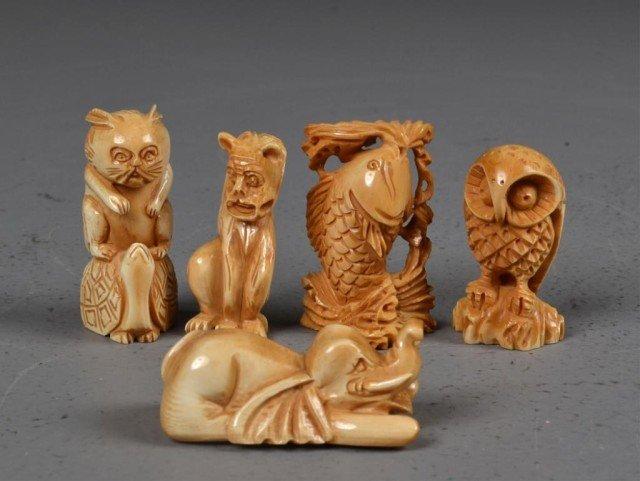 553: (5)Japanese Carved Ivory Netsuke