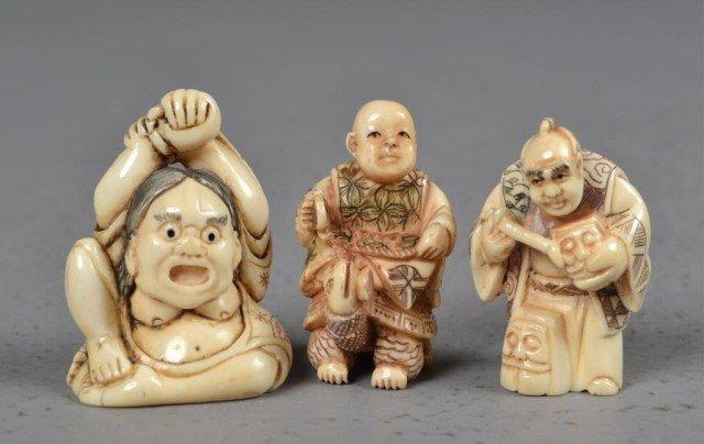 554: (3)Japanese Carved Ivory Netsuke
