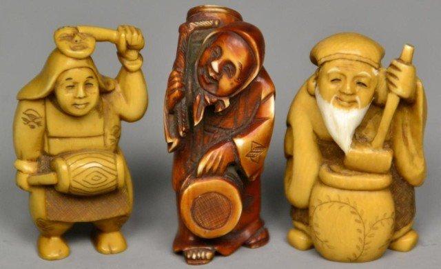 556: (3)Japanese Carved Ivory Netsuke