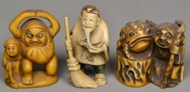 557: (3)Japanese Carved Ivory Netsuke