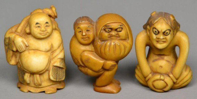 559: (3)Japanese Carved Ivory Netsuke