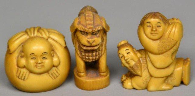 560: (3)Japanese Carved Ivory Netsuke