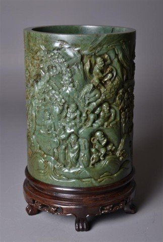 637: Massive Chinese Carved Spinach Jade Brush Pot