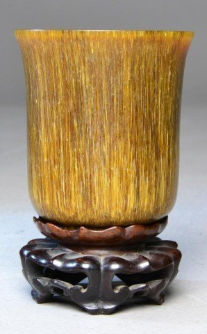 655: Chinese Carved Rhinocerous Horn Cup & Stand