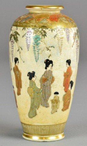1: Japanese Satsuma Porcelain signed Vase