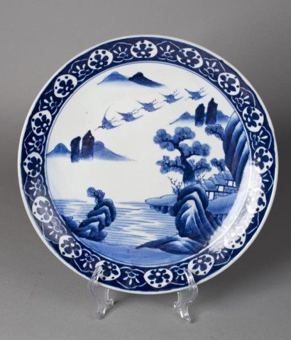10: A Large Japanese Blue & White Charger