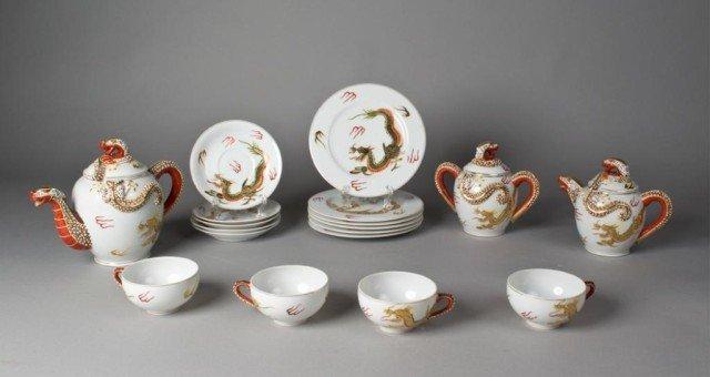 12: (18) Piece Kutani Porcelain Dragon Wear Tea Set