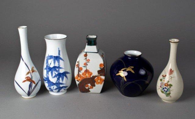 13: (5) Japanese Porcelain Vases