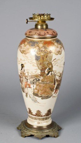15: An  Impressive Japanese  Satsuma Porcelain Lamp
