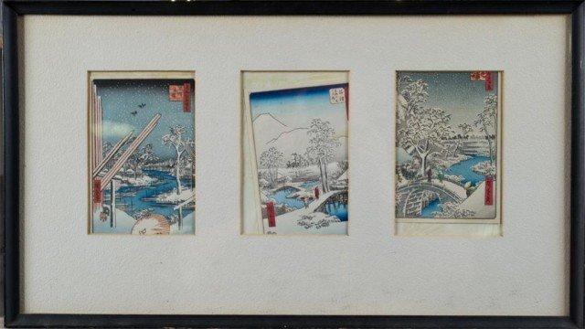 19: (3) Framed Hiroshige Woodblock Christmas Cards