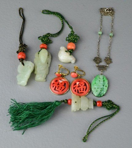 406: (7) Pieces Chinese Jade And Coral Jewelry