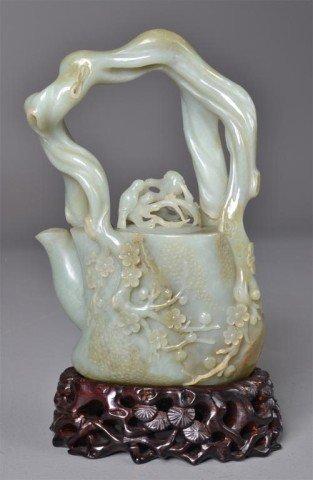 642: A Fine Chinese Carved Celadon JadeTea Pot