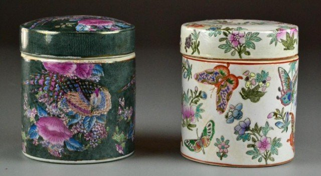 1: (2) Chinese Covered Famille Rose Jars