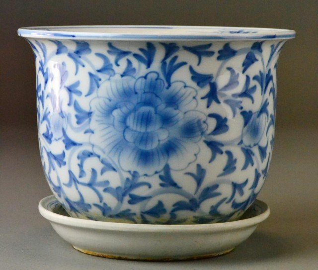 2: Small Chinese Blue And White Jardinière With Underpl