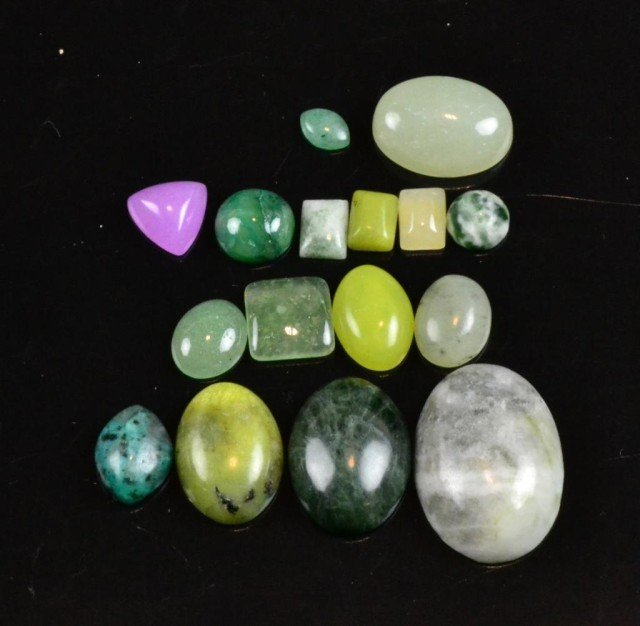 14: (16) Large & Small Jade Cabochons, & Free Stones