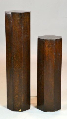 18: (2) Chinese Octagonal Wood Plant Stands