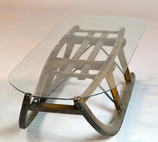 Antique sled glass top coffee table 242 antique sled glass top coffee table geotapseo Images