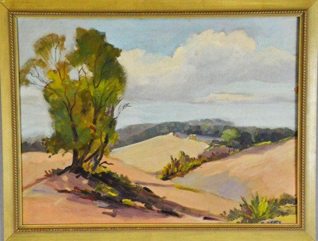 303: American School Landscape Oil Painting On Canvas B