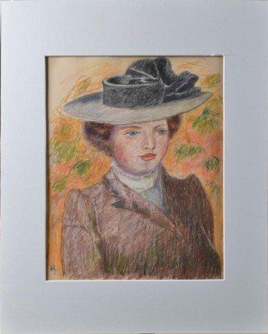713: Monogramed Pierre Auguste Renoir, Pastel on Paper