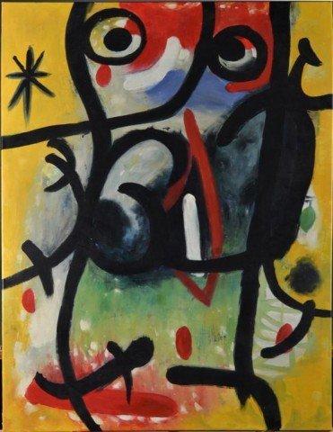 716: Style of Joan Miro, Oil Painting on Canvas