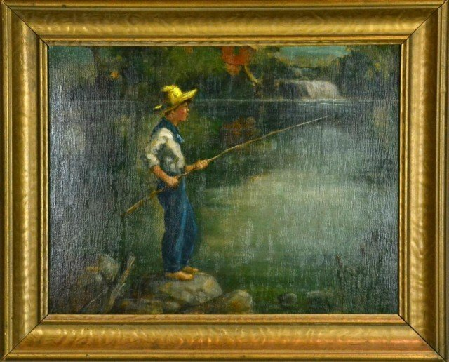 725: Attributed Adam Emory Albright Oil Painting On Boa