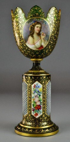 826: Exceptional Victorian Bohemian Glass Portrait Urn