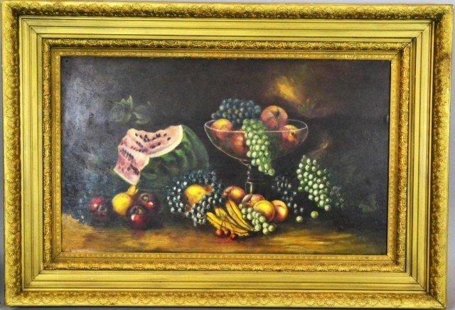 883: American School Large Still Life Oil Painting On B