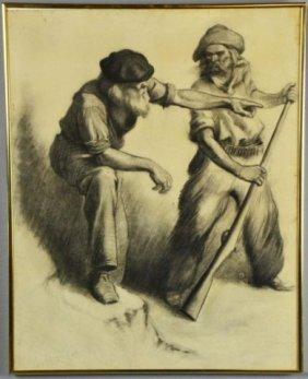 John Drew Charcoal Drawing On Paper