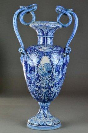 Monumental Porcelain Delft Blue & White Vase