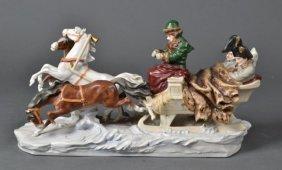 Schumann Dresden Porcelain Sleigh With Napoleon