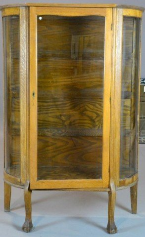 1001: Antique Oak Curio Cabinet with Curved Glass