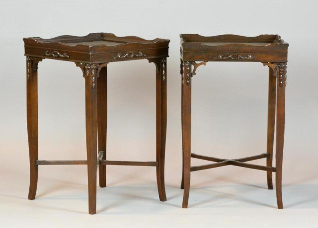 1002: Pr. Carved Mahogany Occasional Table