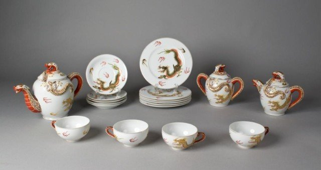 12: (18) Piece Kutani Porcelain Dragon Wear Tea Set