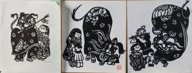 22: (3) Kawanchi Woodblock Prints
