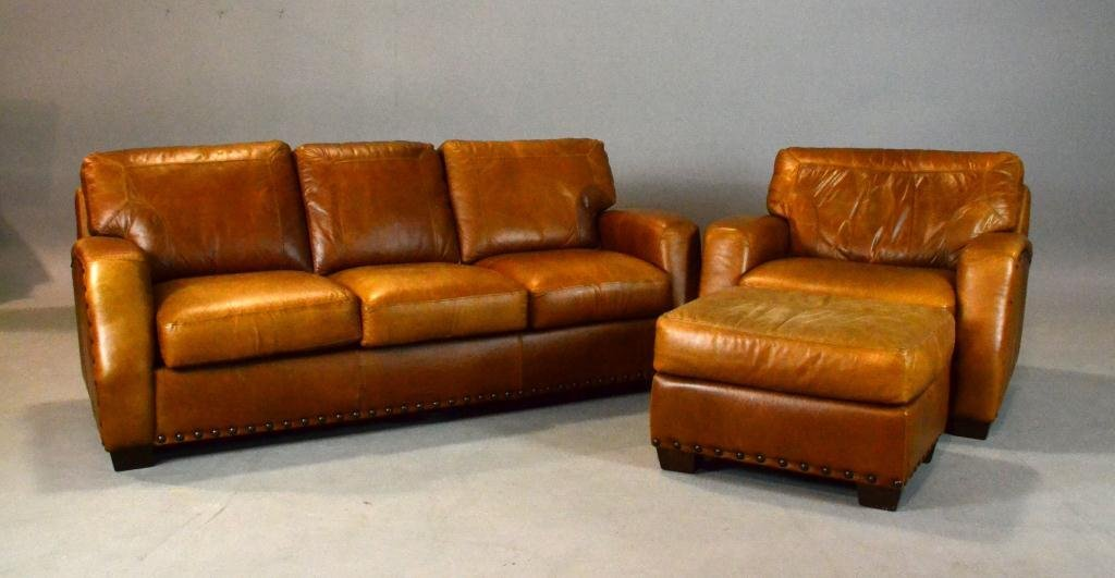 3: (3) Pcs. Robinson Leather Couch/Chair/Ottoman