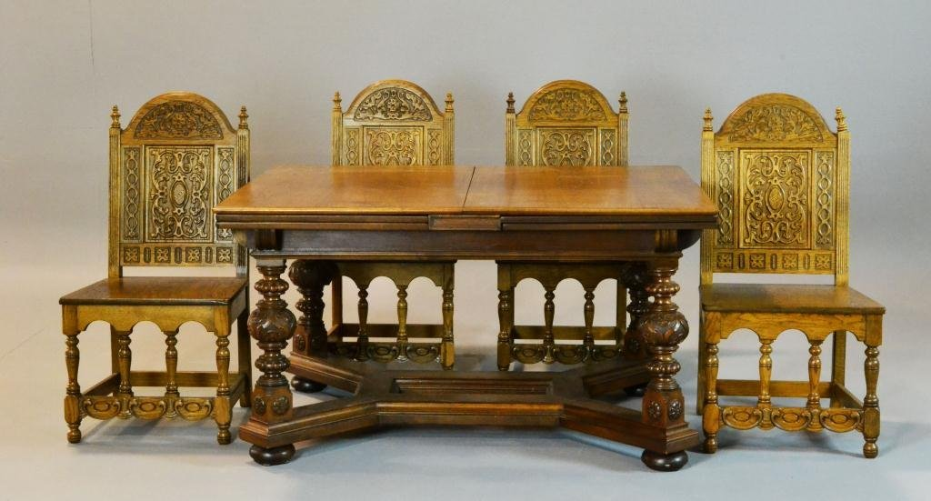 6: (9) Piece Jacobean  Table & Chairs Signed