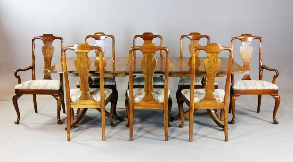 7: (9) Pcs. Milling Road Table & Six Qu. Anne  Chairs