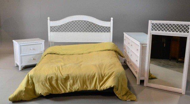 8: (4) PIECE WHITE LEXINGTON WICKER BEDROOM SET