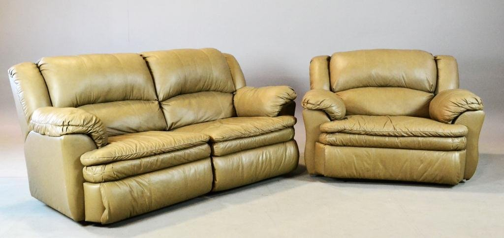 13: (2) Pcs. Leather Inc. Couch & Oversized-Chair