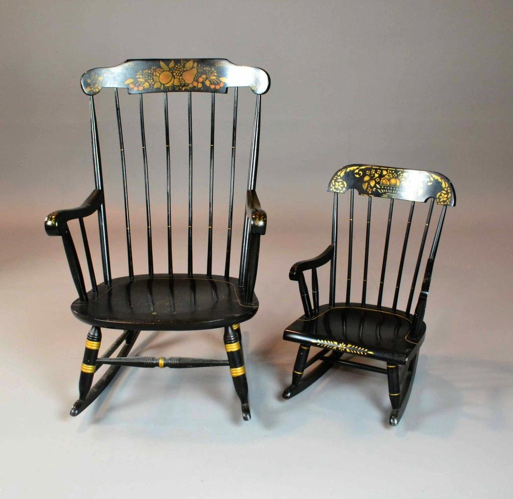 2 HITCHCOCK ROCKING CHAIRS ADULT AND CHILD