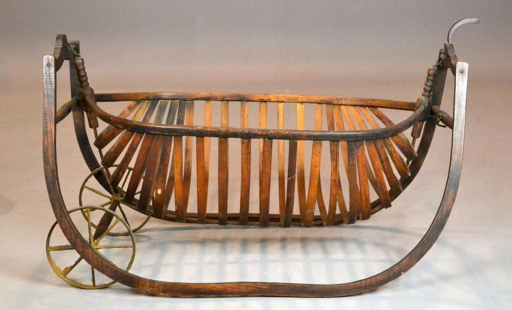 115: American Bentwood Oak Field Cradle 19th Century