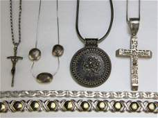 182 6 Pcs Sterling Necklaces One with Large Cross
