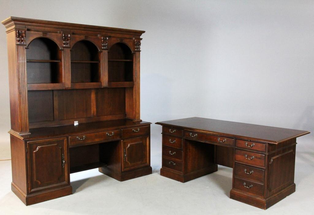 459: (3) Pcs. Hooker Desk, Credenza & Bookcase