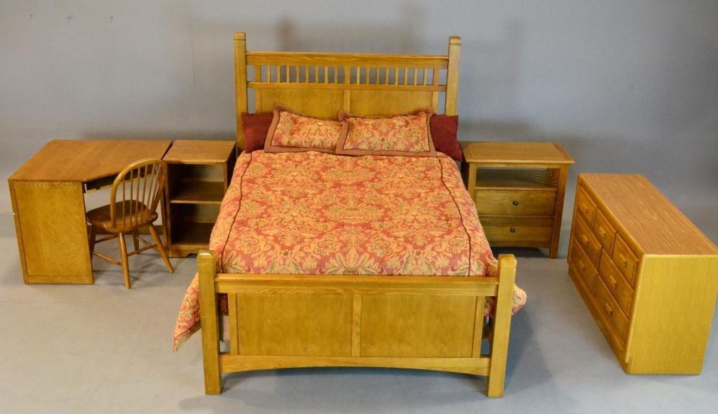460: (6) Pcs. Light Oak Mission-Style Bedroom Suite