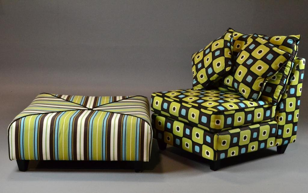 480: (2) Retro Upholstered Chair and Large Ottoman