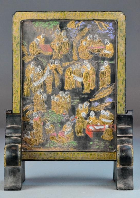 5: Chinese Qing Carved & Painted Inkstone