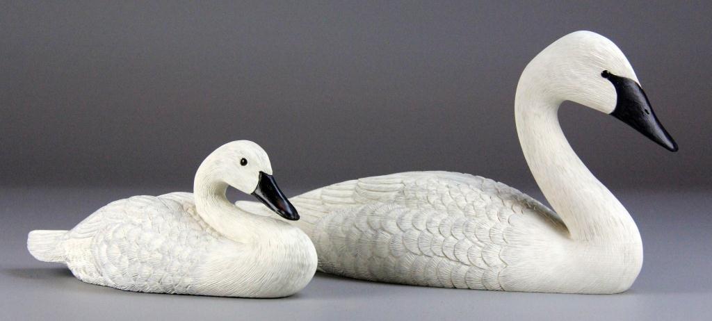 16: (2) Bud Wheeler Finely Carved Swan &Cygnet