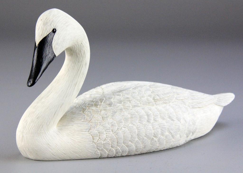 16: (2) Bud Wheeler Finely Carved Swan &Cygnet - 5